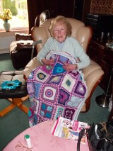 Margaret with her Sunshine Blanket called Violetta thank you.