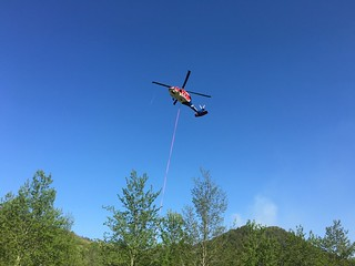 Fire fighting helicopter coming into land at Hot Springs Spa