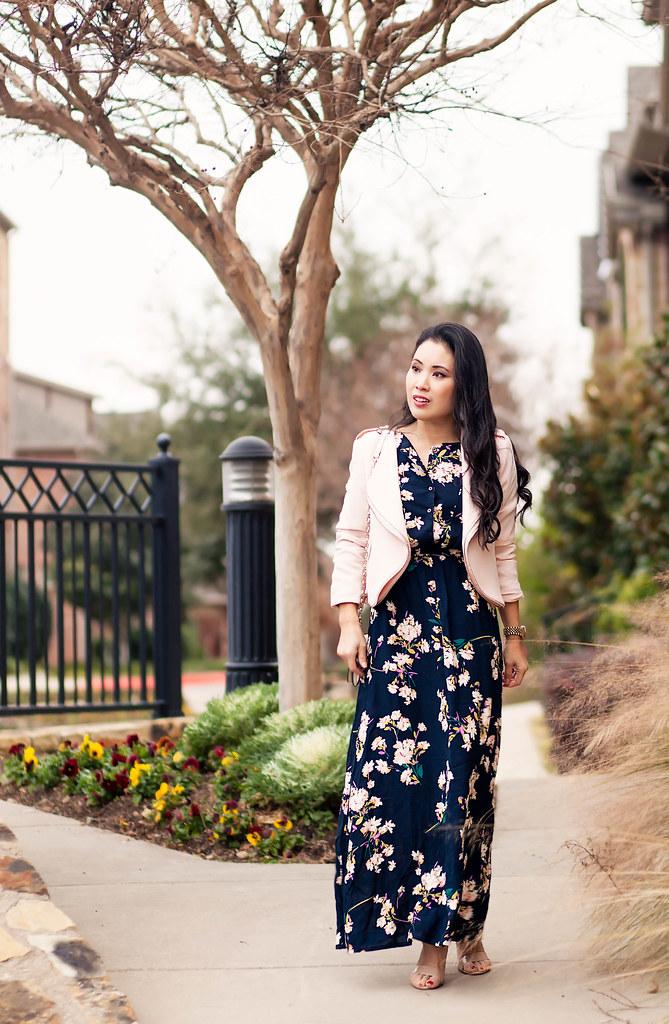 35189948b4 Navy Floral Maxi + Pink Moto - cute & little | Dallas Petite Fashion Blogger