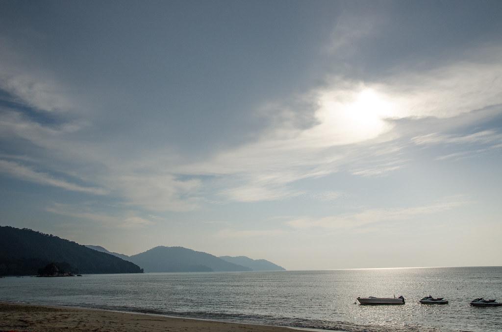 Sunset at the beach at Hard Rock Hotel Penang