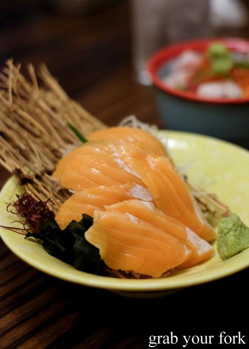 Salmon belly sashimi at Tsubohachi Izakaya in Hakodate, Hokkaido