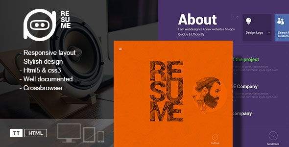 Themeforest Resume - One-Page Creative CV Template