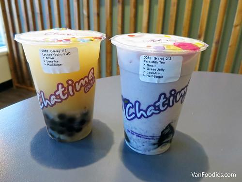 Lychee Yogurt QQ & Taro Milk Tea