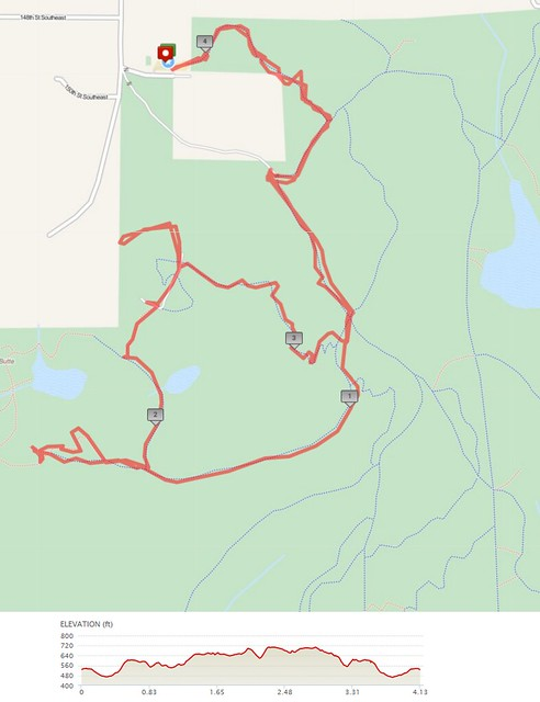"""Today""""s awesome walk, 4.13 miles in 1:39, 8,889 steps, 397ft gain"""