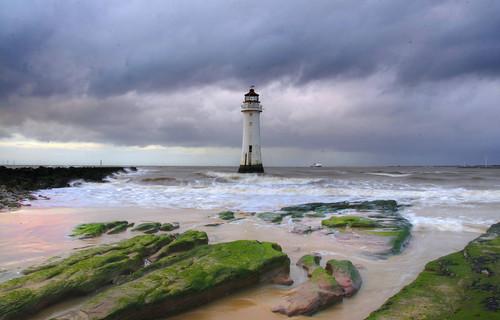 england sky lighthouse water weather clouds geotagged coast sand rocks europe day waves cloudy britain outdoor tide horizon shore wallasey wirral newbrighton merseyside irishsea geo:lon=304149628 geo:lat=5344195678