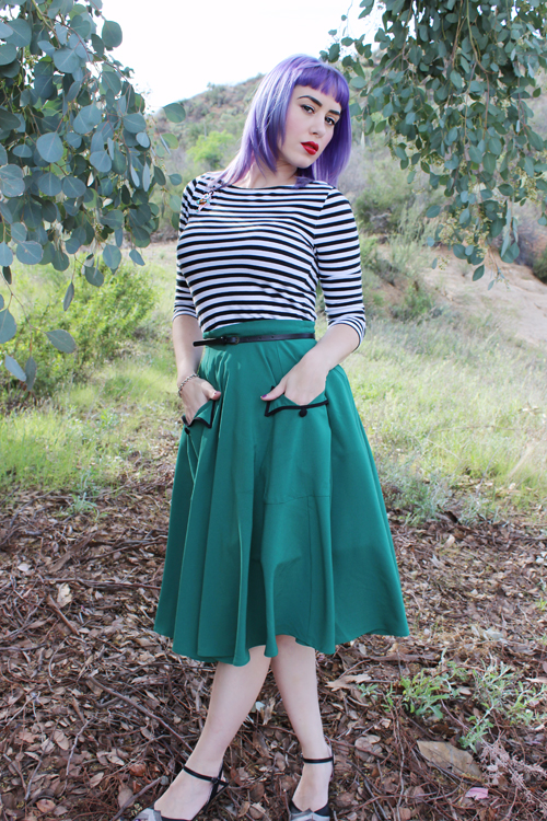 Unique Vintage Hell Bunny 1950s Style Green High Waist Crepe Ellie May Swing Skirt Target Boatneck Top in Black and White Stripe