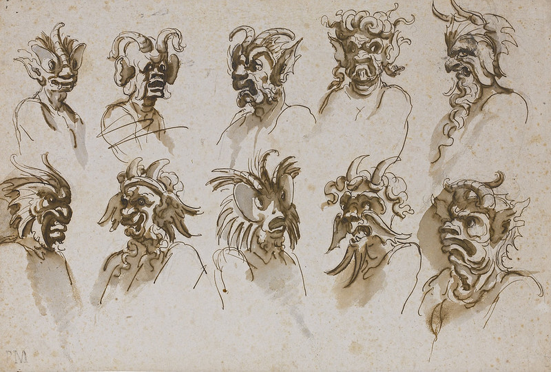 TEN STUDIES OF GROTESQUE HEADS, 17th C
