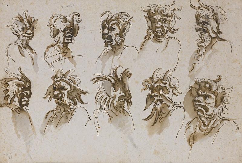TEN STUDIES OF GROTESQUE HEADS, 17th C
