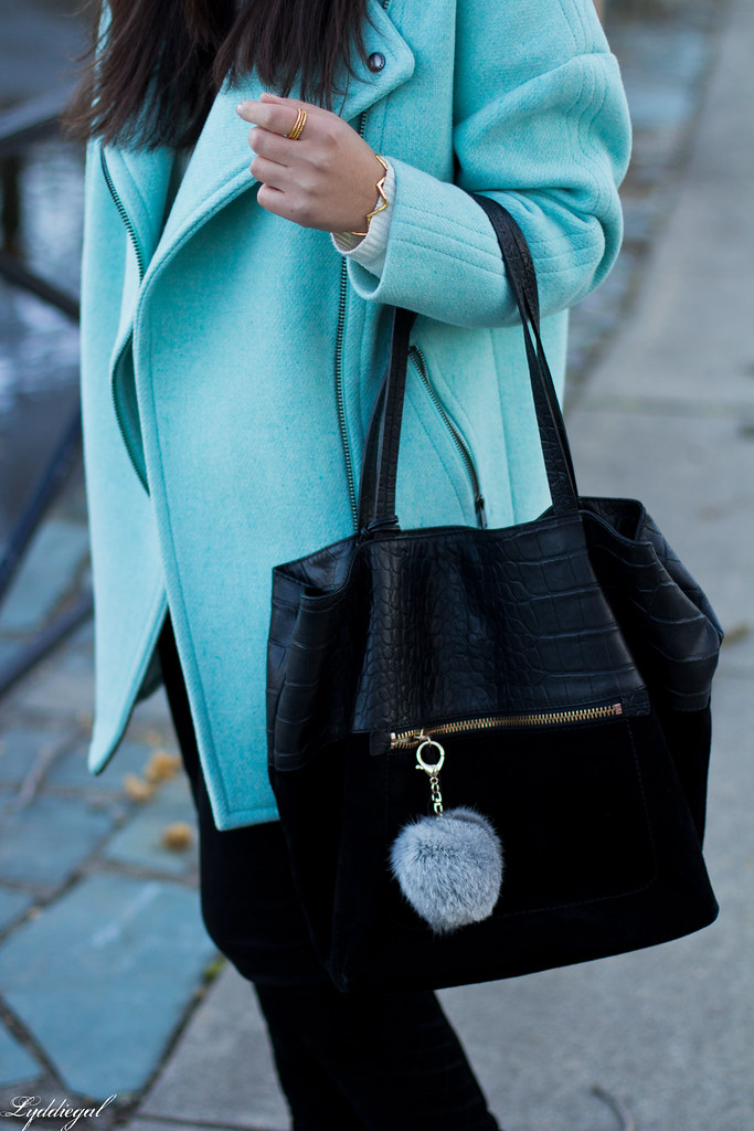 mint cocoon coat, black jeans, white sweater, black boots-6.jpg