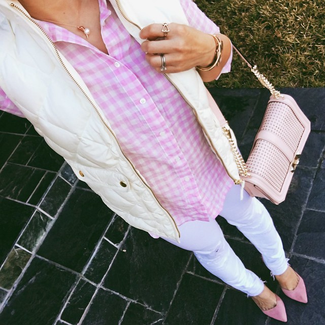 cute & little blog | petite fashion | j.crew white excursion quilted vest, pink gingham shirt, white jeans, minkoff pink love crossbody, pink suede pumps | fall winter outfit
