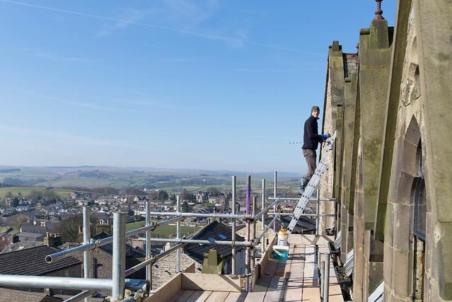 James up  ladder