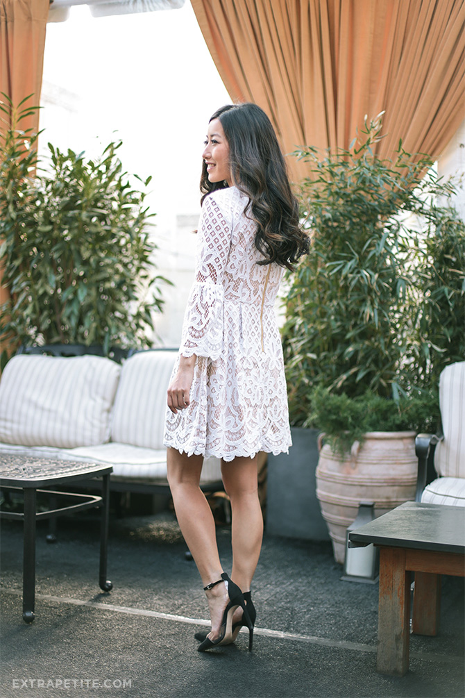 spring white lace dress fit flare petites