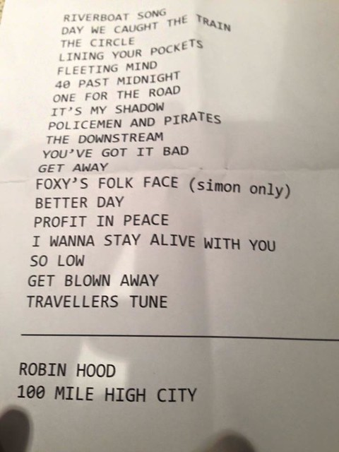 "Ocean Colour Scene - Melbourne set list (via ""Cornton Thornholders"" on Facebook)"