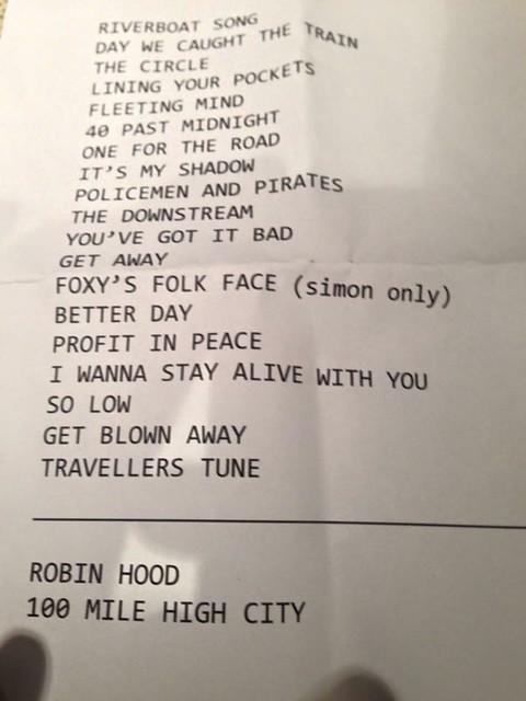 "Ocean Colour Scene - Melbourne set list (via ""Cornton Thornholders"" on Facebook)"