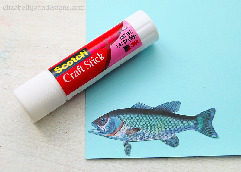 Glue Fish on Blue Paper