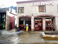 Campus bars like Firehaus frequently have to power-wash the concrete outside their front doors eww