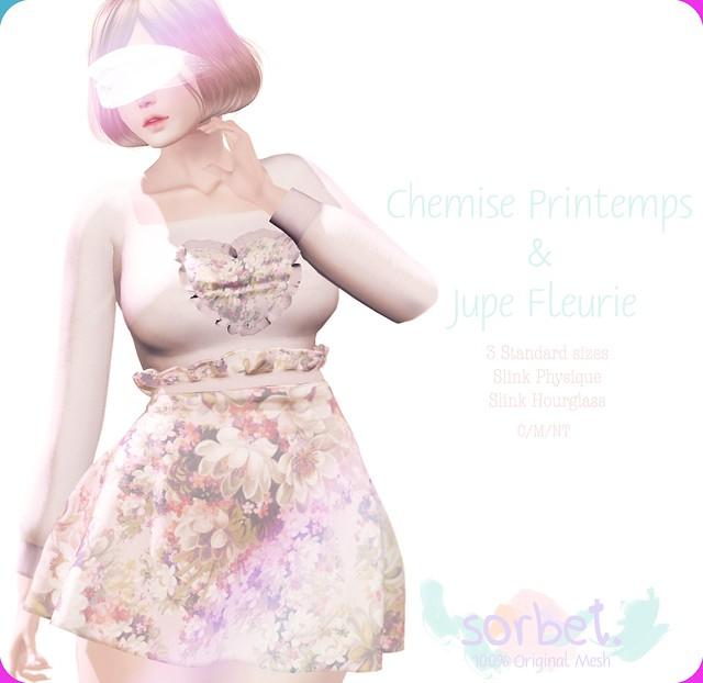 Sorbet. Jupe Fleurie & Chemise Printemps