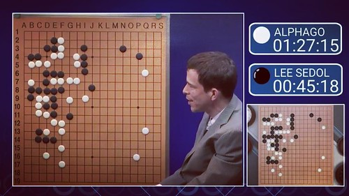 8:36pm Match 3 of AlphaGo vs Lee Sedol. The confidence of the human commentary is fascinating.