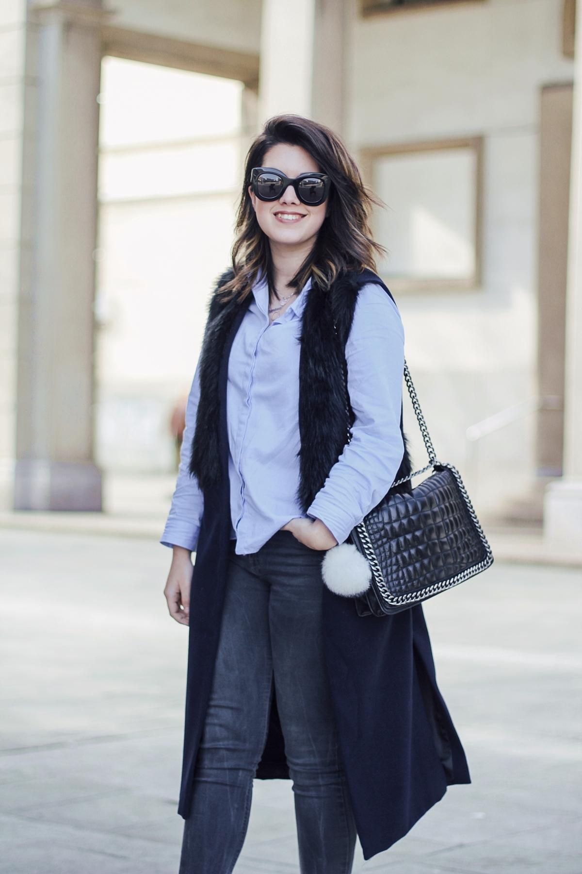 faux fur vest navy baby blue blouse streetstyle myblueberrynightsblog