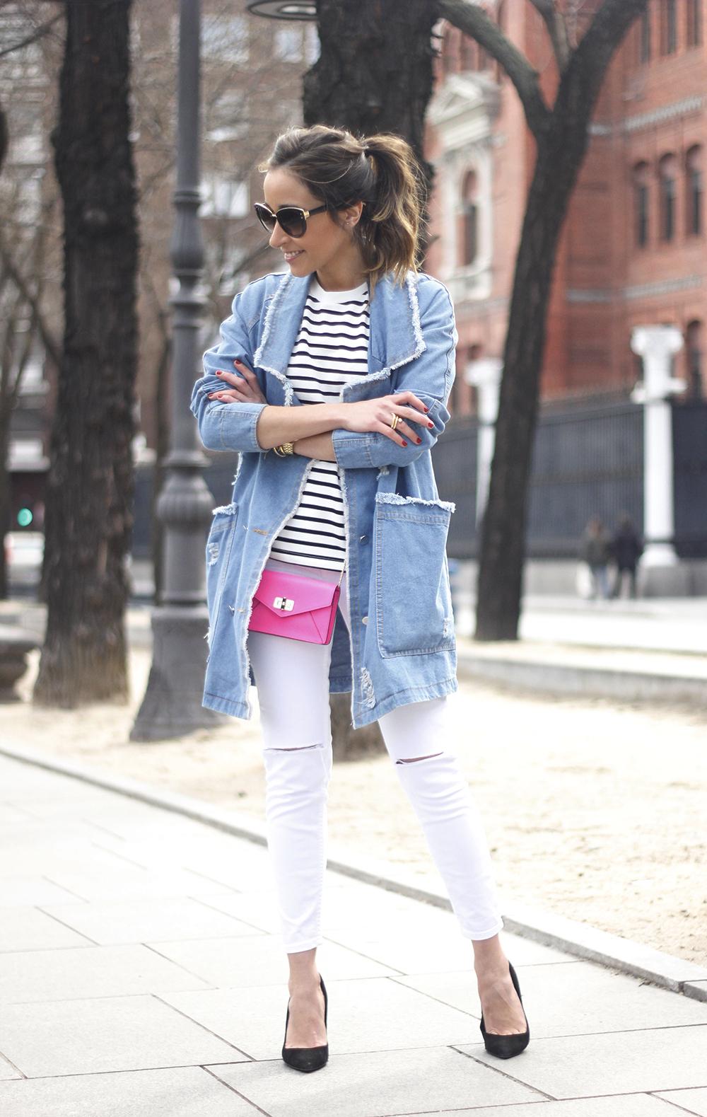 Stripes and Denim Coat Gloria Ortiz Heels Accessories Sunnies Outfit18