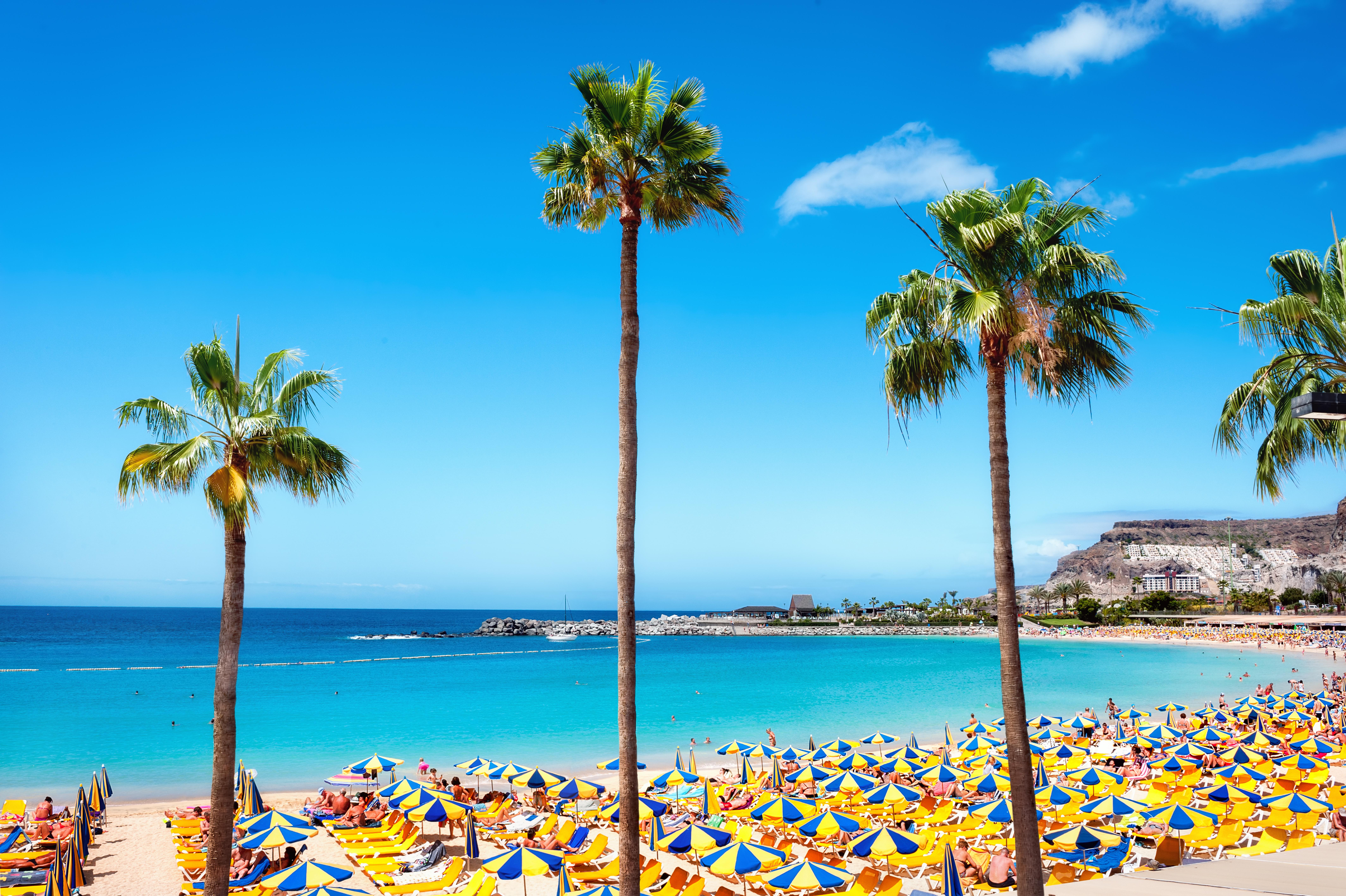 Beautiful beach of Playa de Amadores near Puerto Rico town, Gran Canaria, Canary Islands. Spain