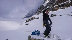 Albert tańczy. Na lodowcu Vedretta di Scerscen.