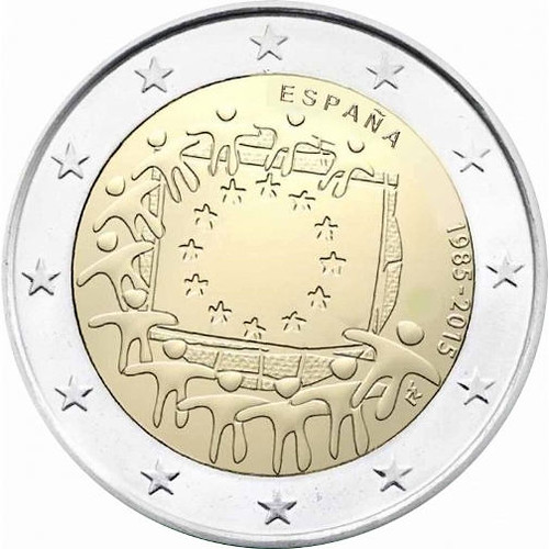 2 Euro Španielsko 2015, Vlajka EÚ
