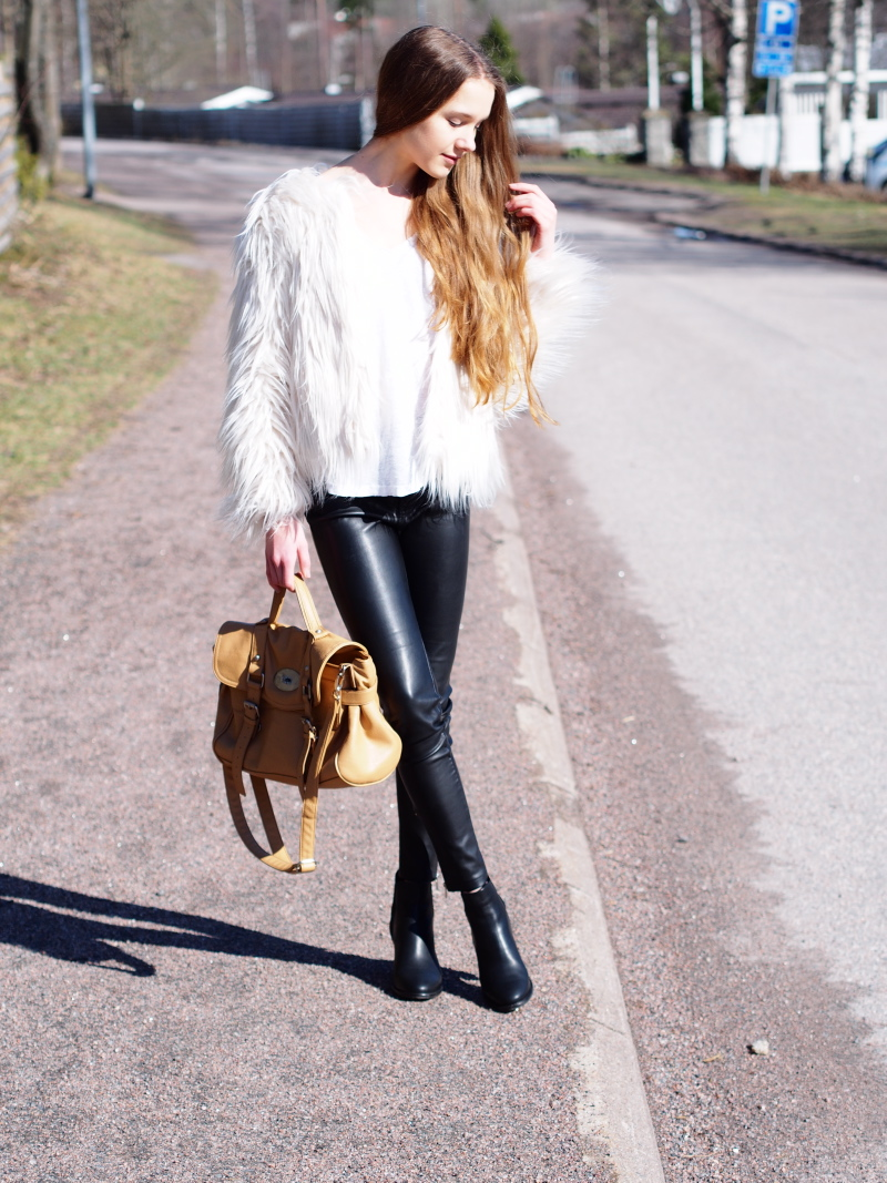 Spring outfit with faux fur jacket and Steve Madden Whatsup booties