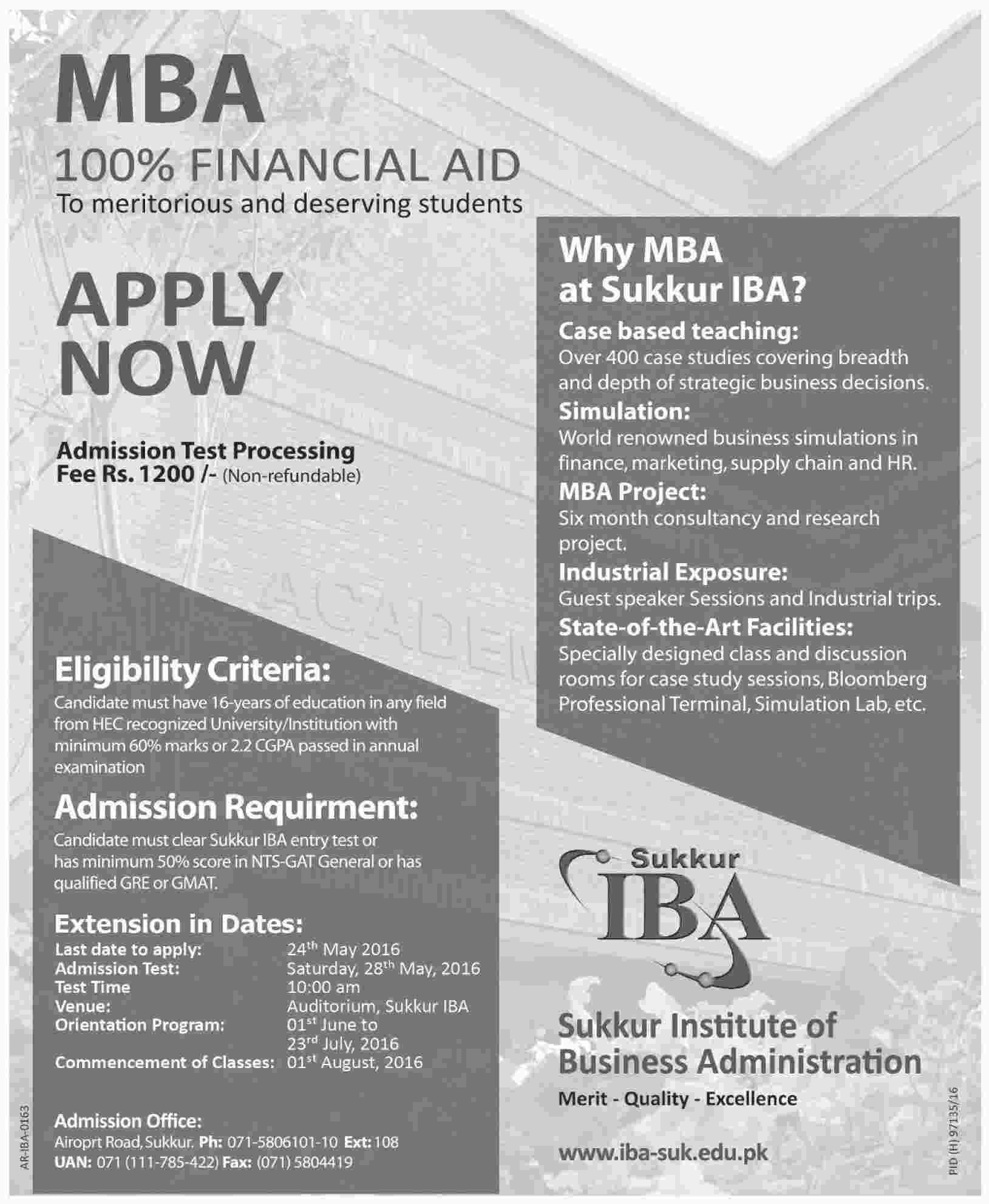 IBA Sukkar Fully Funded MBA Scholarships 2016