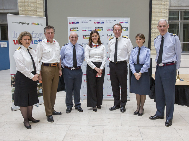 Commodore Inga Kennedy, Chief of General Staff, Sir Nicholas Carter,VCDS Air Chief Marshal Sir Stuart Peach, Miriam Gonzalez, First Sea Lord, Admiral Sir George Zambellas, Air Vice Marshal Elaine West and Chief of the Air Staff Sir Andrew Pulford