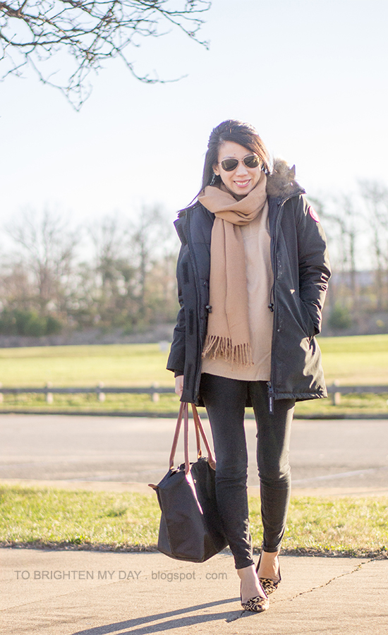 black parka, camel scarf, camel sweater tunic, leopard flats