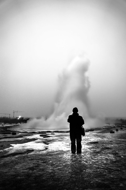 Geyser - Iceland - Black and white street photography