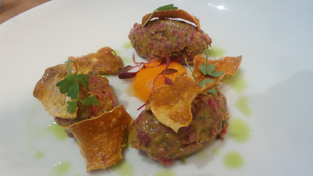 steak tartare, parsnip crisps