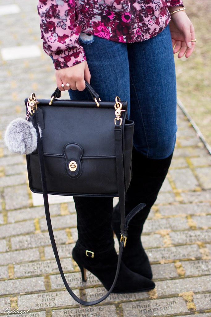 floral wrap blouse, denim, black boots, coach bag-6.jpg