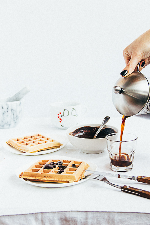 Whole Grain Waffles with Coffee & Cardamom Ganache