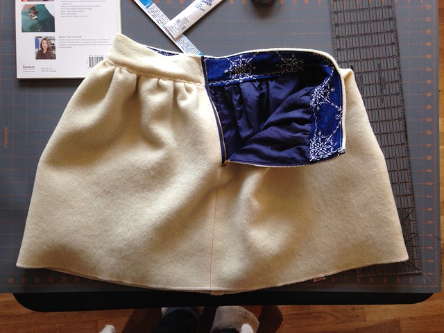 Megan Nielsen Brumby skirt made from a vintage blanket