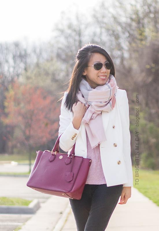 pink blanket scarf, white blazer, pink top, black jeans