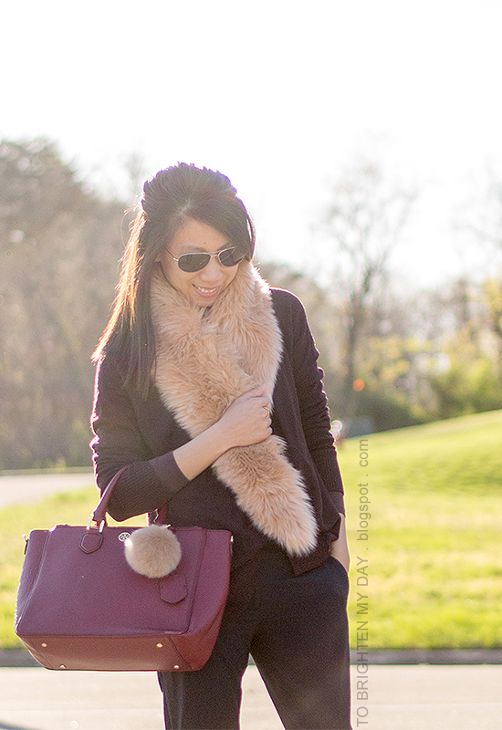 faux fur scarf, plum sweater, navy pants, burgundy tote with faux fur keychain
