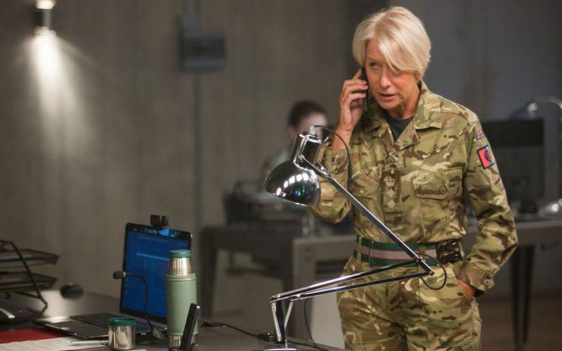 Helen Mirren is one point of pressure on EYE IN THE SKY.