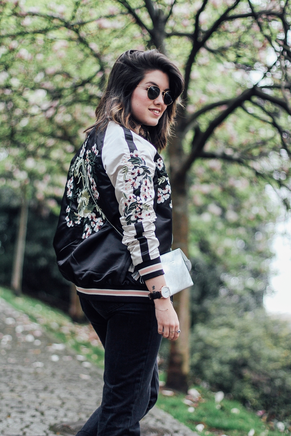 Reversible bomber jacket with embroidery detail stradivarius black&white streetstyle