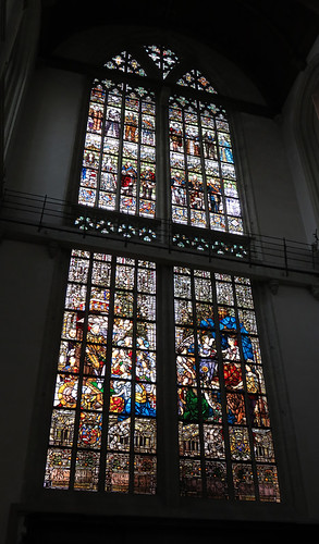 A stained-glass window in the Nieuwe Kerk (New Church) in Amsterdam, Holland