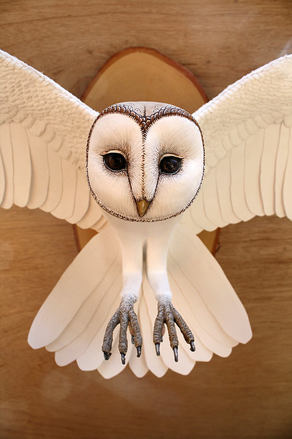 Paper and Wood Barn Owl Sculpture
