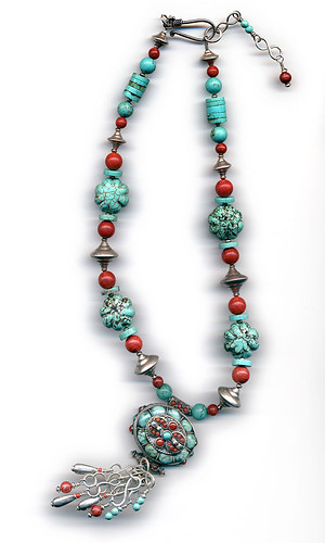 Necklace with Tibetan gau box with Chinese turquoise, coral and sterling silver