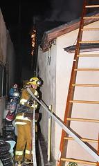 L.A. and Burbank Fire Departments Battle Stubborn Attic Fire
