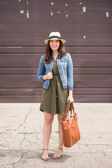 jean jacket + green shirt dress + stripe sandals + cognac tote; spring outfit | Style On Target