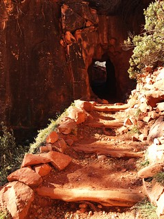 Supai Tunnel on the North Kaibab Trail, on the 46-mile R2R2R run in the Grand Canyon