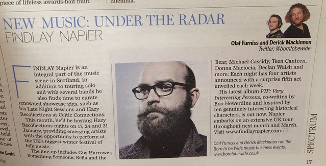 Olaf Furniss and Derick Mackinnon, Scotland On Sunday, Spectrum Magazine, Findlay Napier