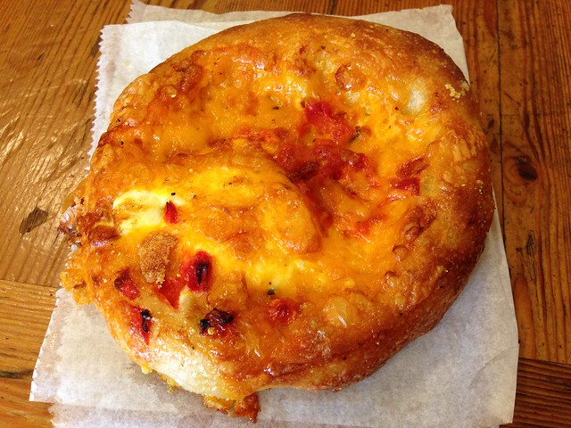 Egg and cheddar breakfast focaccia - Arizmendi Bakery