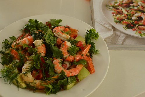 King prawns with preserved lemon guacamole