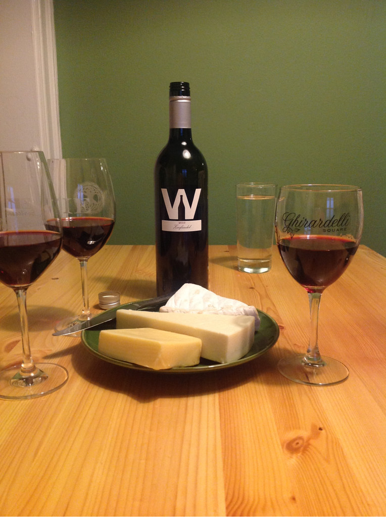 Zinfandel and 3 Cheeses; Brie, Asiago & Smoked Jack 1
